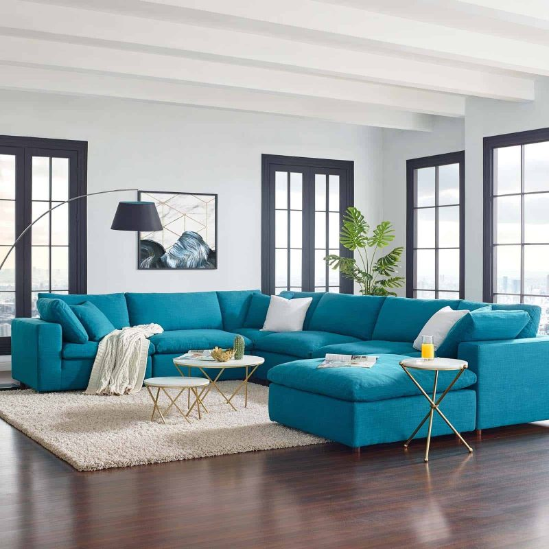 Commix Down Filled Overstuffed 7 Piece Sectional Sofa Set in Teal