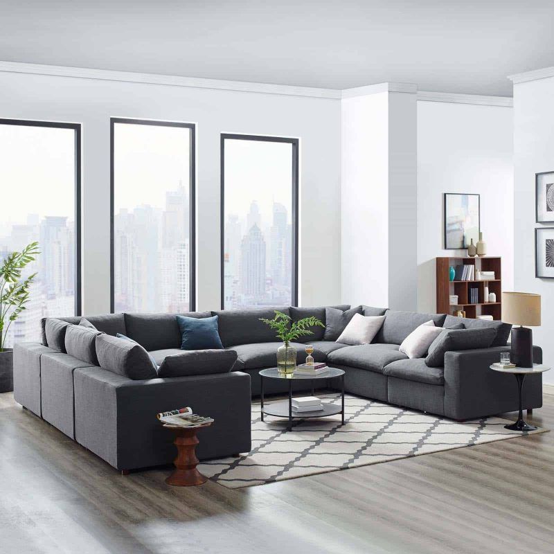 Commix Down Filled Overstuffed 8 Piece Sectional Sofa Set in Gray