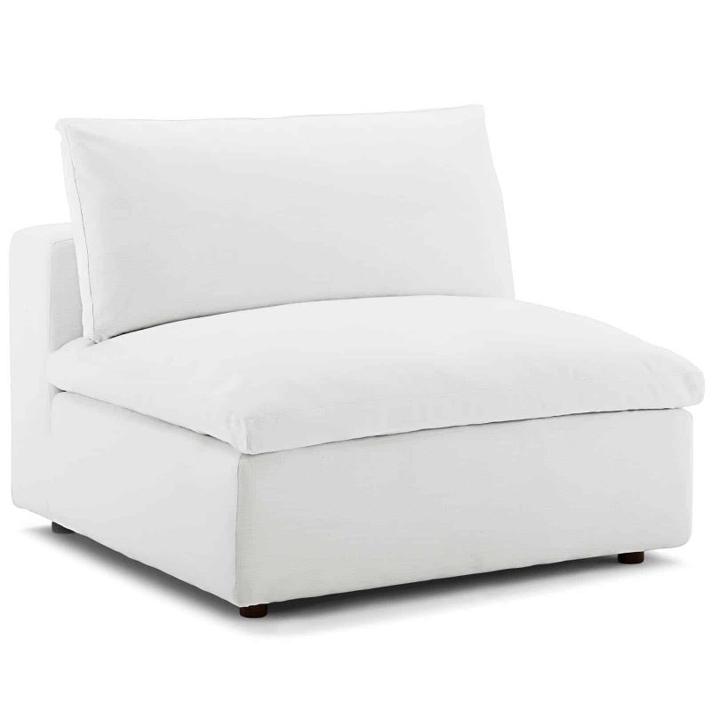 Commix Down Filled Overstuffed Armless Chair in White