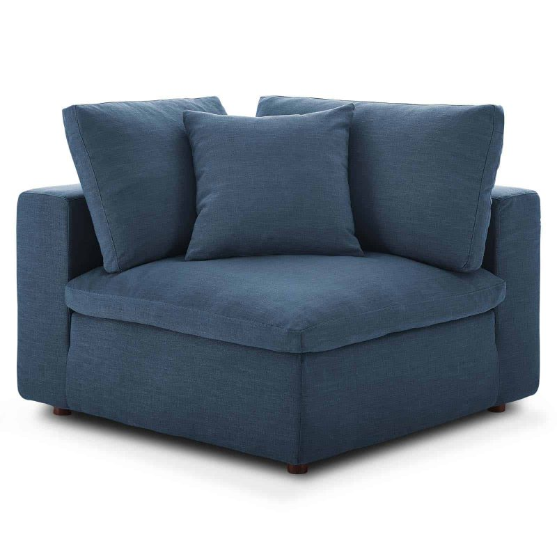 Commix Down Filled Overstuffed Corner Chair in Azure