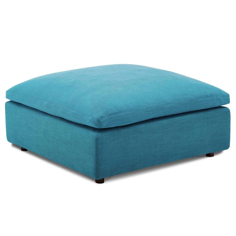 Commix Down Filled Overstuffed Ottoman in Teal