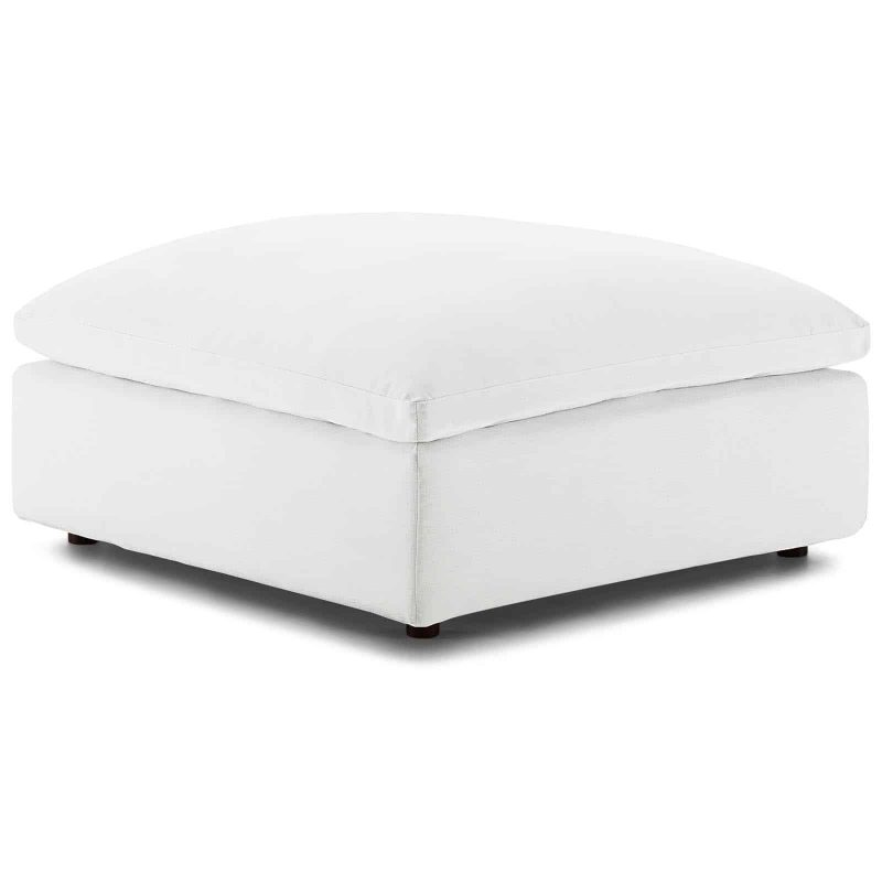 Commix Down Filled Overstuffed Ottoman in White