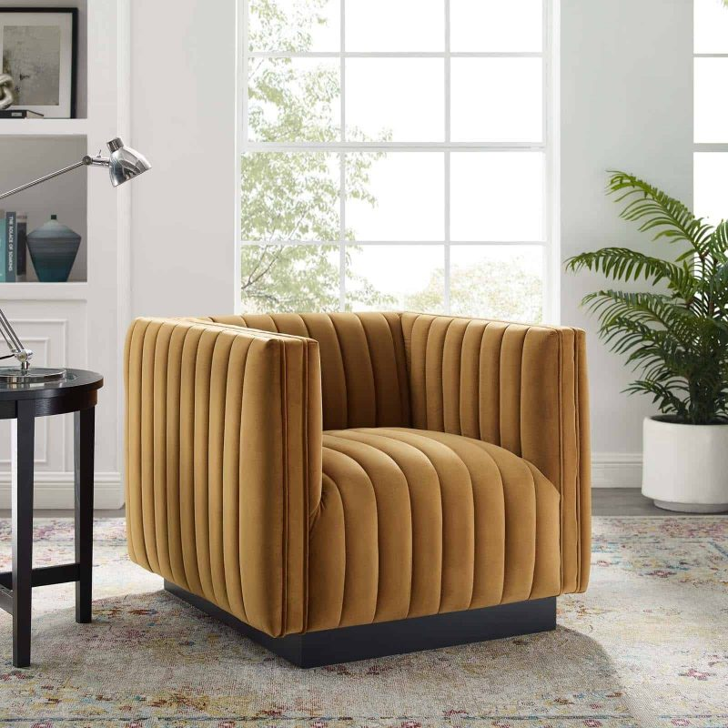 Conjure Channel Tufted Performance Velvet Accent Armchair in Cognac