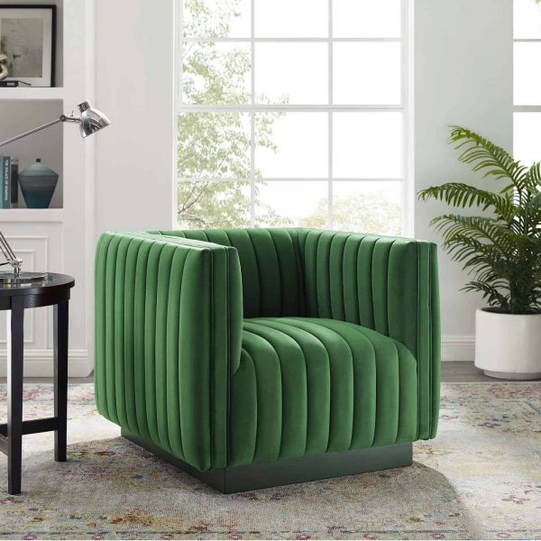Conjure Channel Tufted Performance Velvet Accent Armchair in Emerald