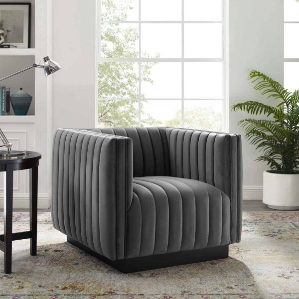 Conjure Channel Tufted Performance Velvet Accent Armchair in Gray
