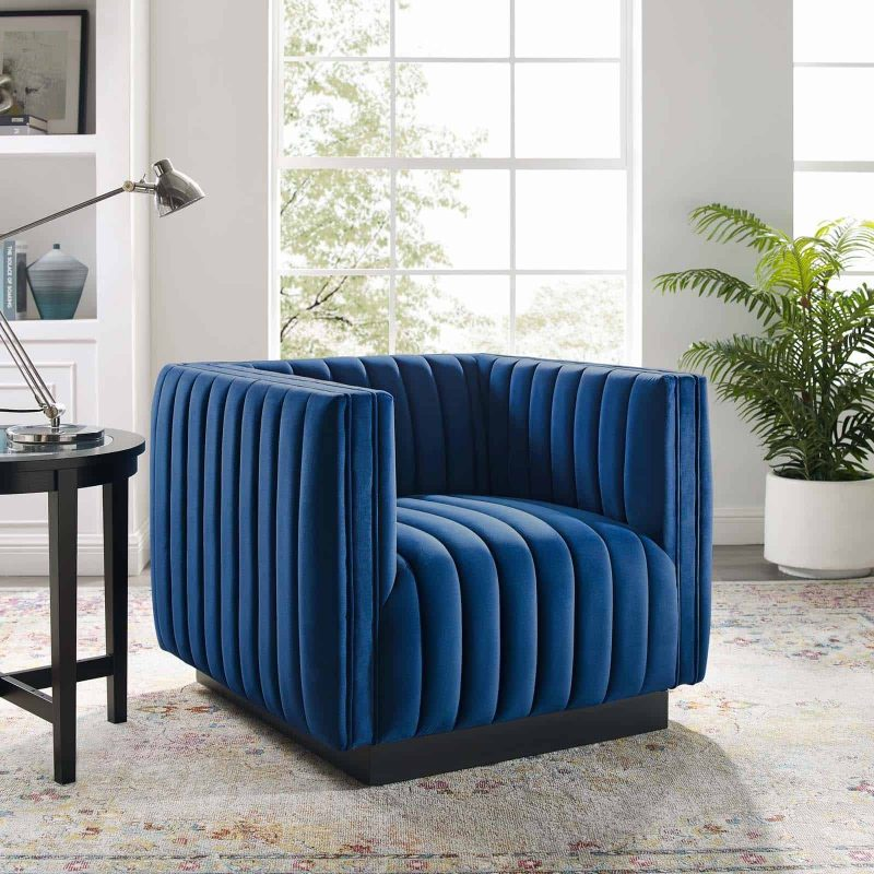 Conjure Channel Tufted Performance Velvet Accent Armchair in Navy