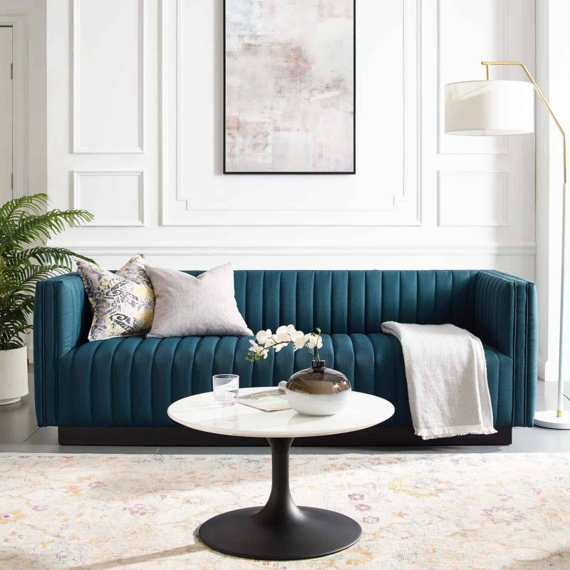 Conjure Tufted Upholstered Fabric Sofa in Azure