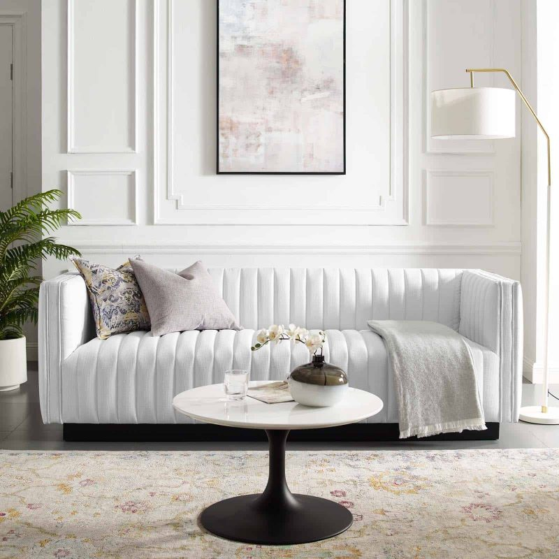 Conjure Tufted Upholstered Fabric Sofa in White