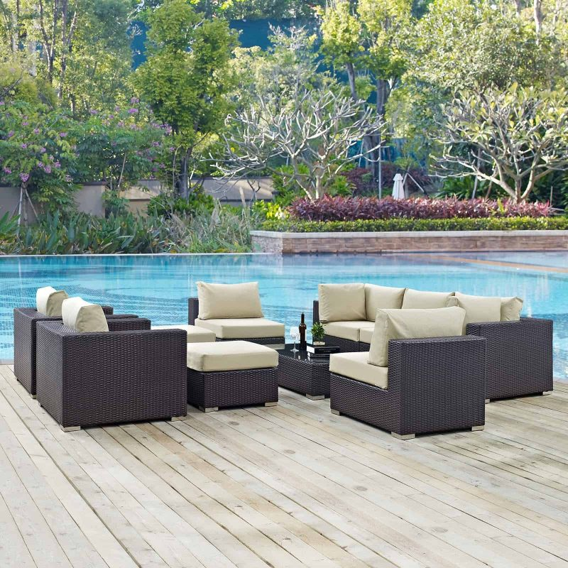 Convene 10 Piece Outdoor Patio Sectional Set in Espresso Beige