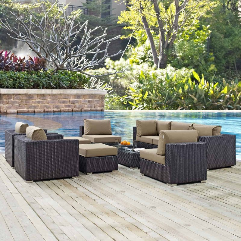 Convene 10 Piece Outdoor Patio Sectional Set in Espresso Mocha