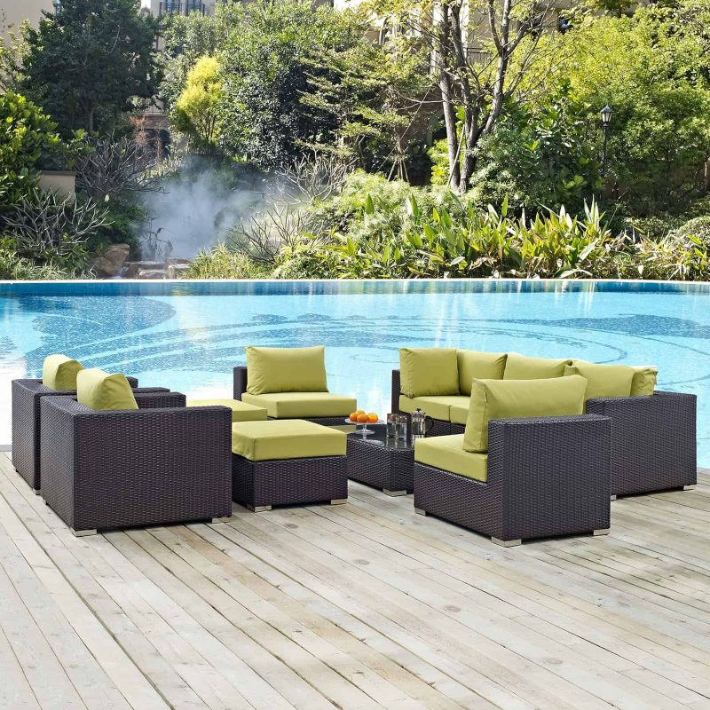 Convene 10 Piece Outdoor Patio Sectional Set in Espresso Peridot