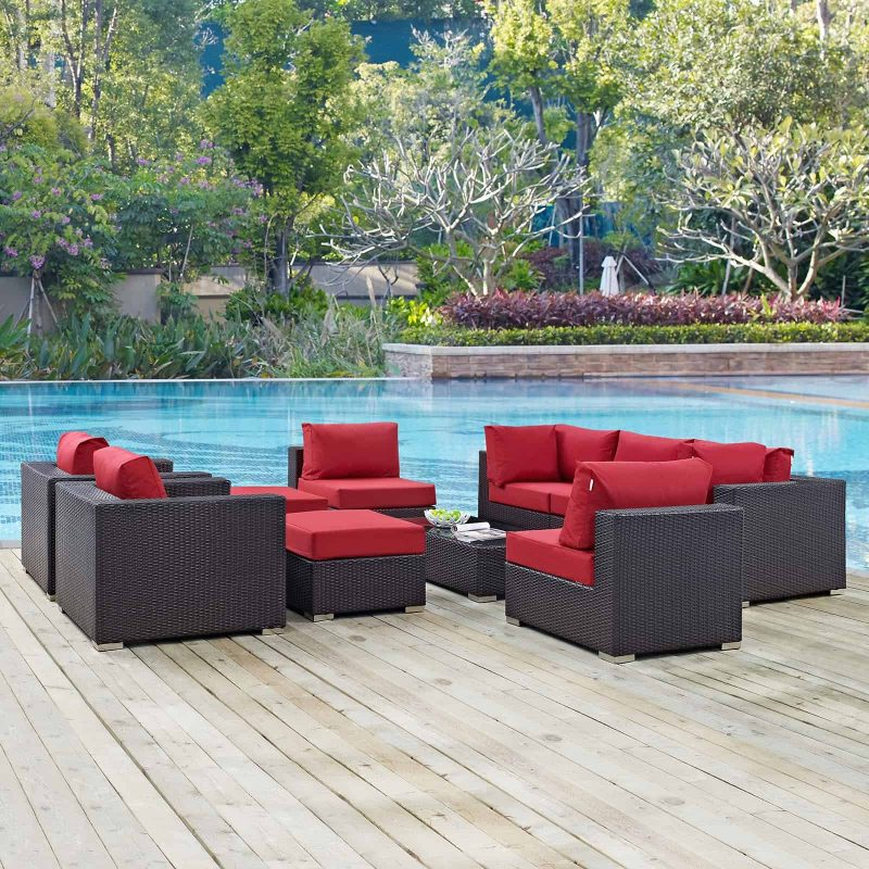 Convene 10 Piece Outdoor Patio Sectional Set in Espresso Red