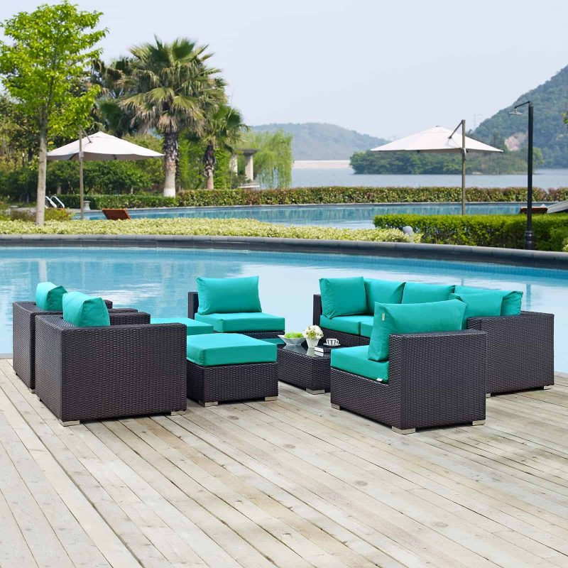Convene 10 Piece Outdoor Patio Sectional Set in Espresso Turquoise