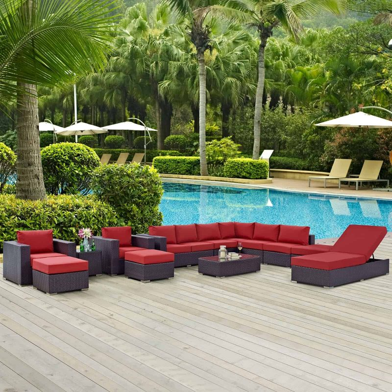 Convene 12 Piece Outdoor Patio Sectional Set in Espresso Red