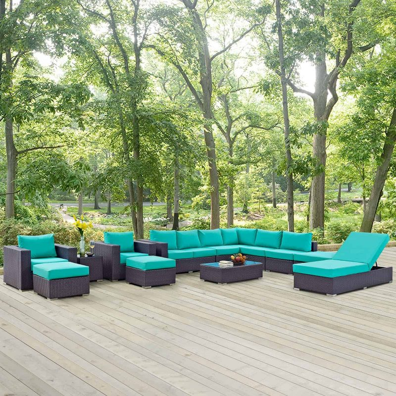 Convene 12 Piece Outdoor Patio Sectional Set in Espresso Turquoise