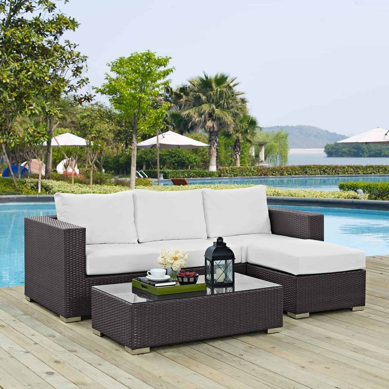 Convene 3 Piece Outdoor Patio Sofa Set in Espresso White