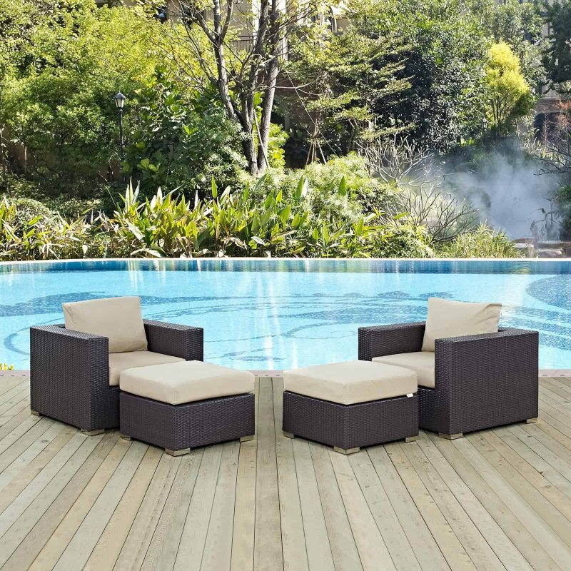 Convene 4 Piece Outdoor Patio Sectional Set in Espresso Beige