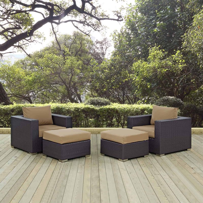 Convene 4 Piece Outdoor Patio Sectional Set in Espresso Mocha