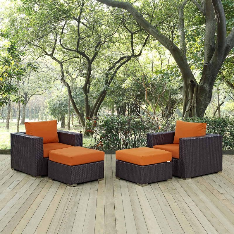 Convene 4 Piece Outdoor Patio Sectional Set in Espresso Orange