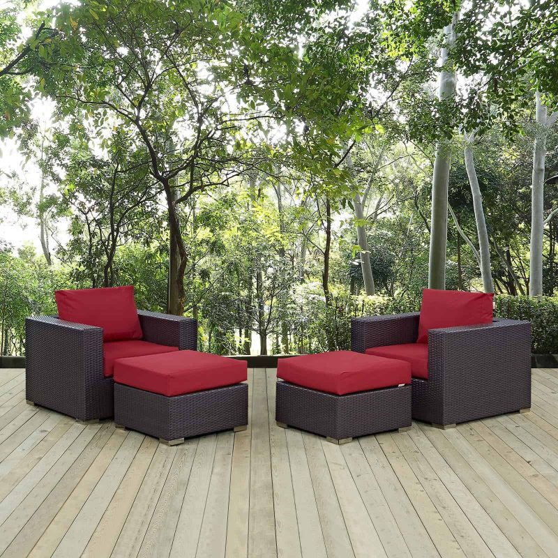Convene 4 Piece Outdoor Patio Sectional Set in Espresso Red