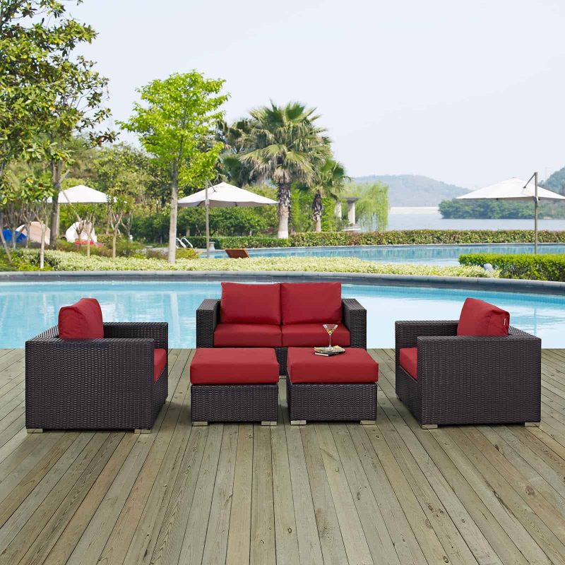 Convene 5 Piece Outdoor Patio Sofa Set in Espresso Red