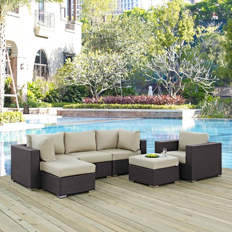 Convene 6 Piece Outdoor Patio Sectional Set in Espresso Beige