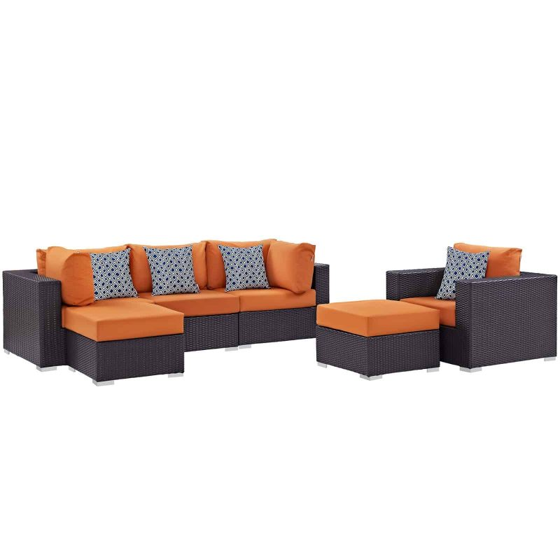 Convene 6 Piece Outdoor Patio Sectional Set in Espresso Orange
