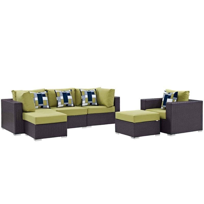 Convene 6 Piece Outdoor Patio Sectional Set in Espresso Peridot