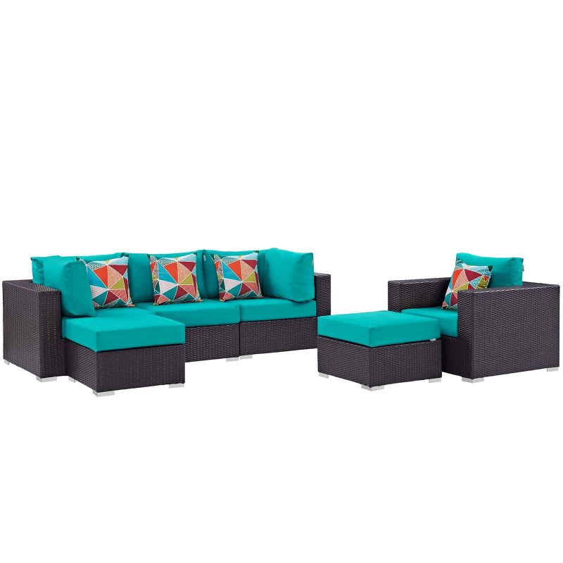 Convene 6 Piece Outdoor Patio Sectional Set in Espresso Turquoise