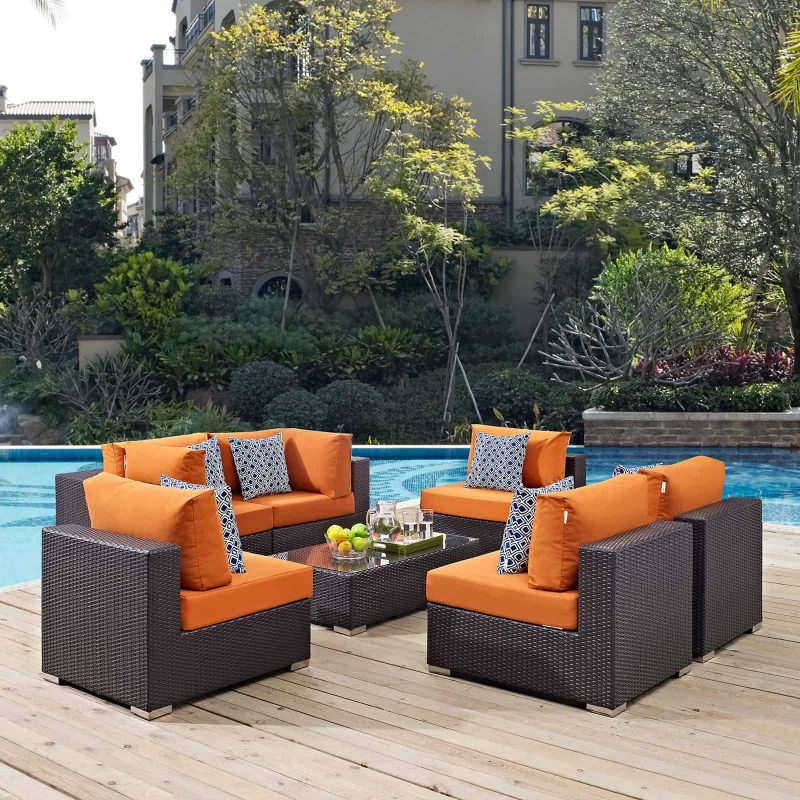 Convene 7 Piece Outdoor Patio Sectional Set in Espresso Orange