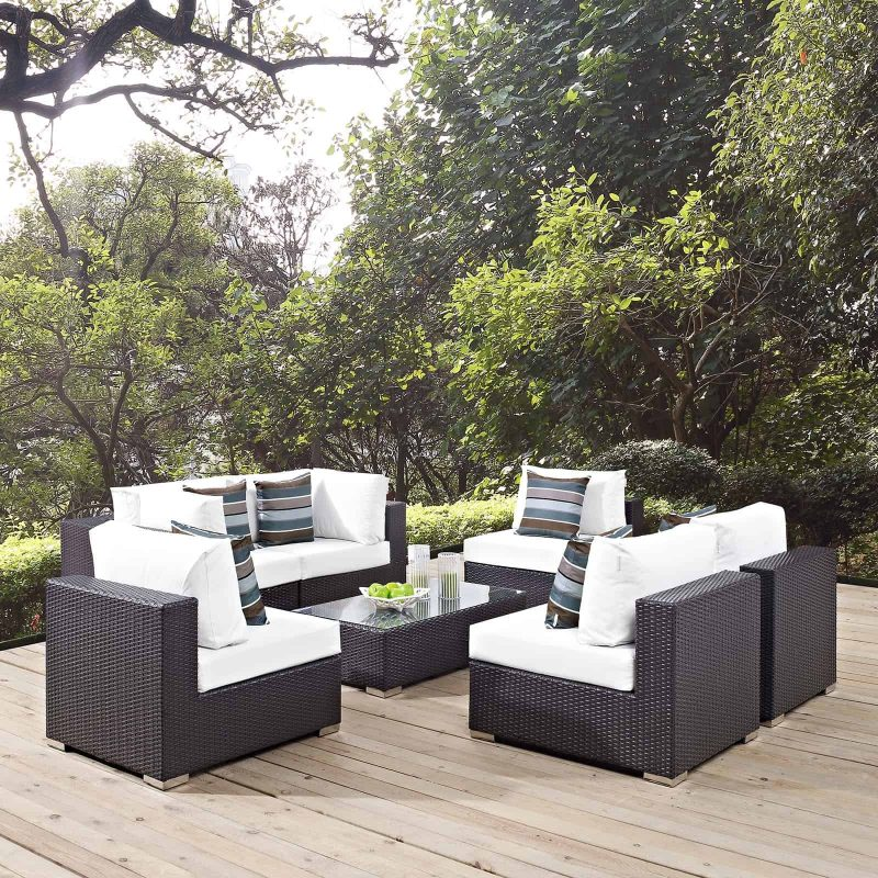 Convene 7 Piece Outdoor Patio Sectional Set in Espresso White