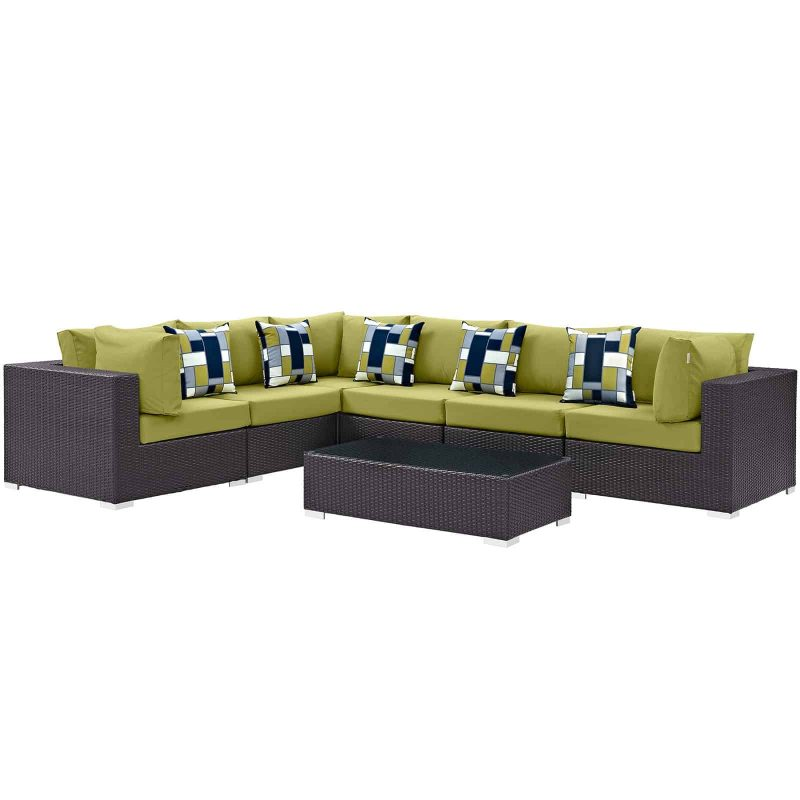 Convene 7 Piece Outdoor Patio Sectional Set in Expresso Peridot