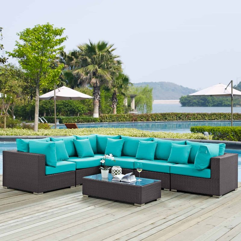 Convene 7 Piece Outdoor Patio Sectional Set in Expresso Turquoise