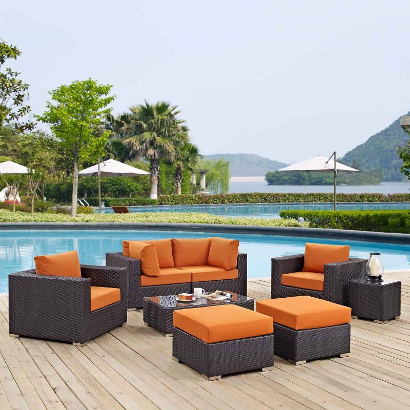 Convene 8 Piece Outdoor Patio Sectional Set in Espresso Orange