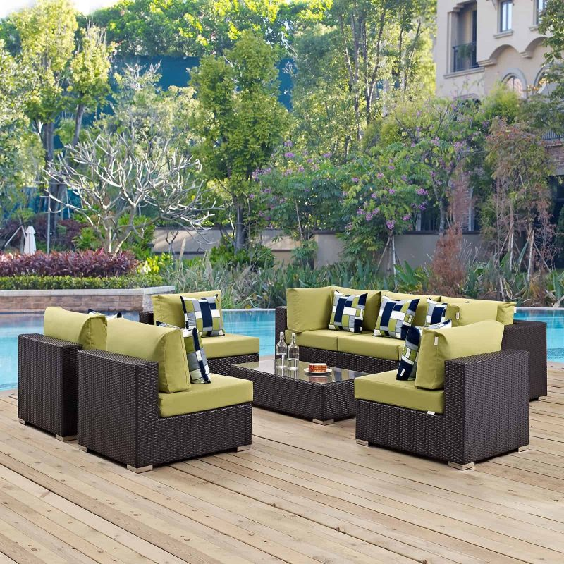 Convene 8 Piece Outdoor Patio Sectional Set in Espresso Peridot
