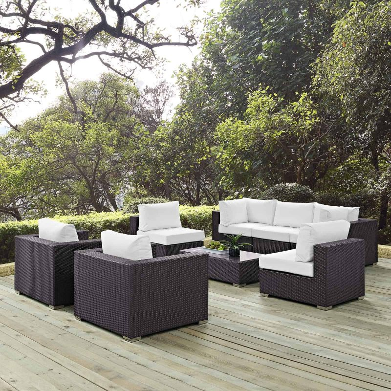 Convene 8 Piece Outdoor Patio Sectional Set in Espresso White