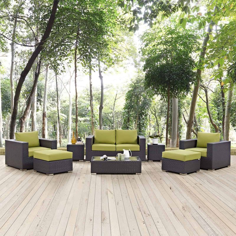 Convene 8 Piece Outdoor Patio Sofa Set in Espresso Peridot