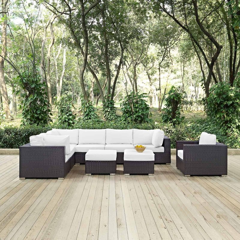 Convene 9 Piece Outdoor Patio Sectional Set in Espresso White