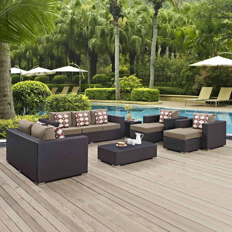Convene 9 Piece Outdoor Patio Sofa Set in Espresso Mocha