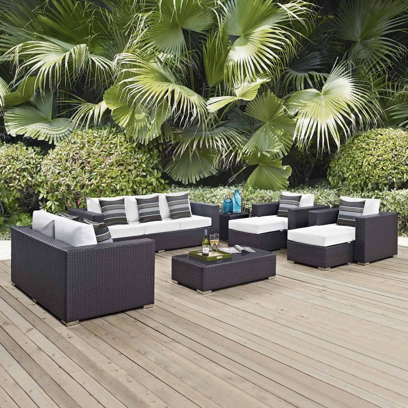 Convene 9 Piece Outdoor Patio Sofa Set in Espresso White