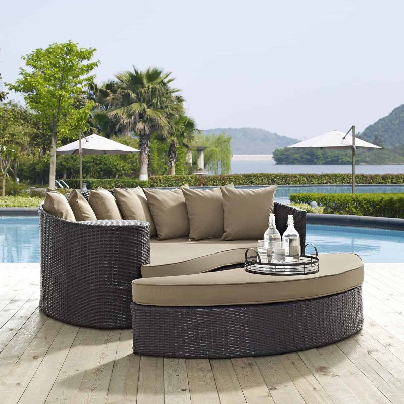 Convene Outdoor Patio Daybed in Espresso Mocha