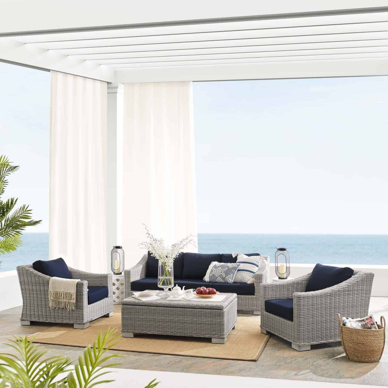 Conway Sunbrella® Outdoor Patio Wicker Rattan 4-Piece Furniture Set in Light Gray Navy