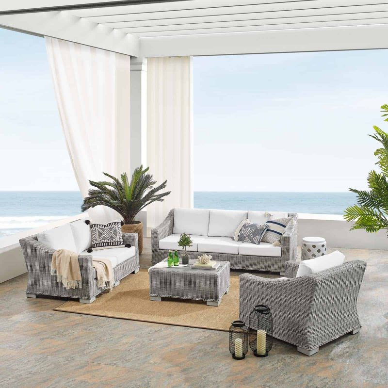 Conway Sunbrella® Outdoor Patio Wicker Rattan 4-Piece Furniture Set in Light Gray White
