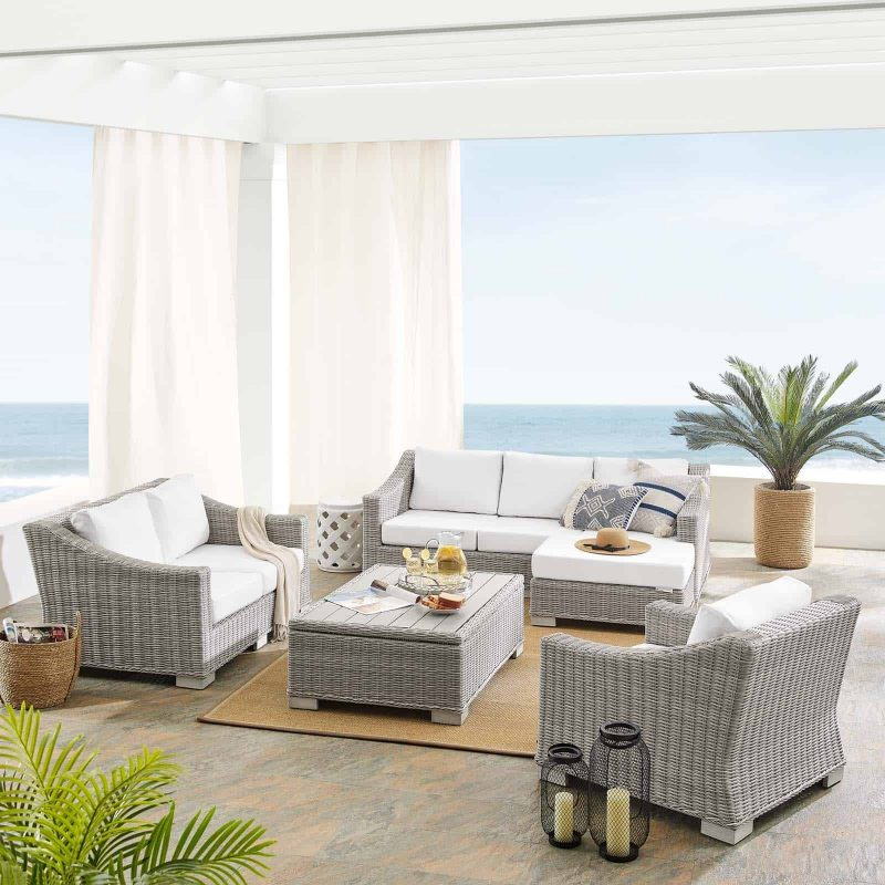 Conway Sunbrella® Outdoor Patio Wicker Rattan 5-Piece Furniture Set in Light Gray White