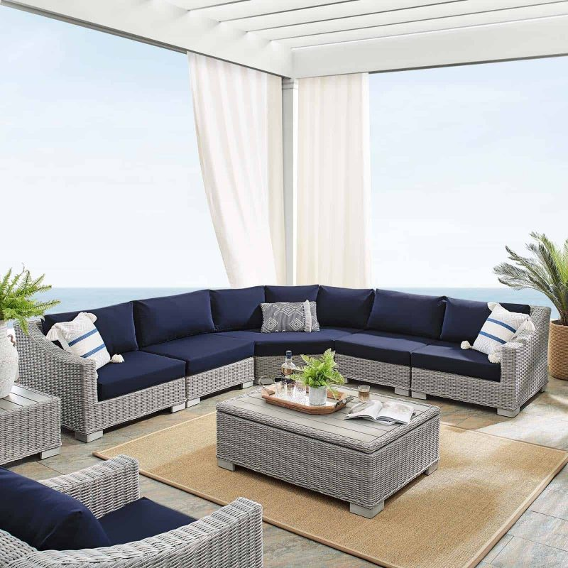 Conway Sunbrella® Outdoor Patio Wicker Rattan 6-Piece Sectional Sofa Set in Light Gray Navy