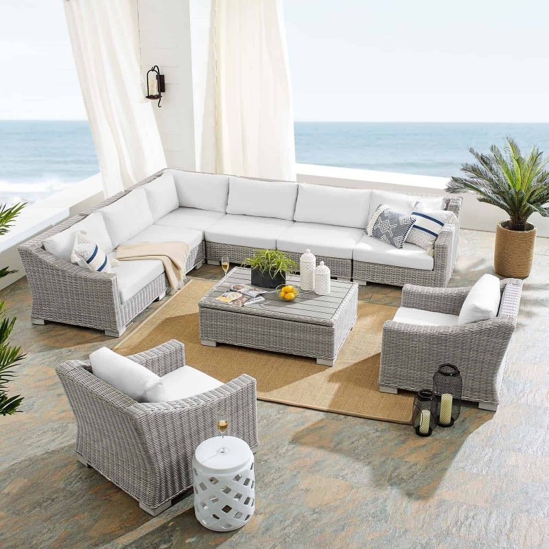 Conway Sunbrella® Outdoor Patio Wicker Rattan 9-Piece Sectional Sofa Set in Light Gray White