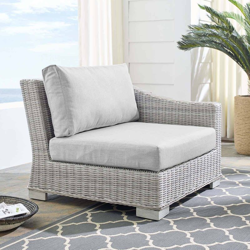 Conway Sunbrella® Outdoor Patio Wicker Rattan Right-Arm Chair in Light Gray Gray