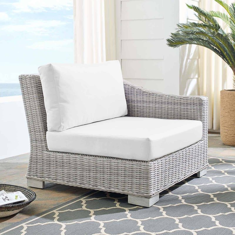 Conway Sunbrella® Outdoor Patio Wicker Rattan Right-Arm Chair in Light Gray White