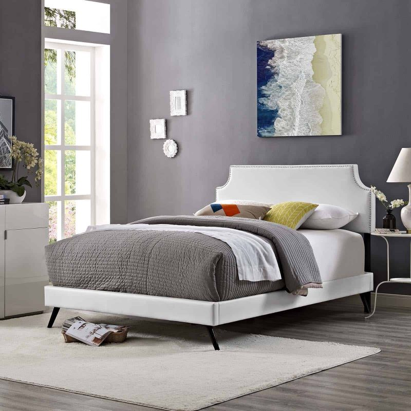 Corene King Vinyl Platform Bed with Round Splayed Legs in White