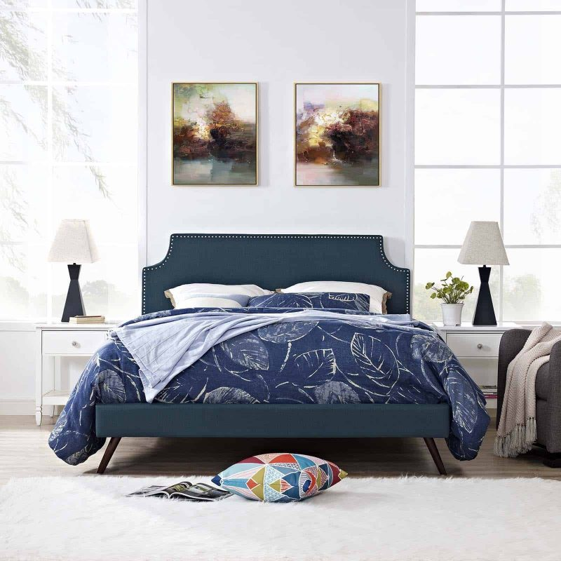 Corene Queen Fabric Platform Bed with Round Splayed Legs in Azure